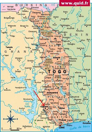 Kouma Konda 132 Km De Lom Par Une Bonne Route Est Facile Daccs La Ville Plus Proche Kpalim 12 Flche Rouge Sur Carte Ci Contre